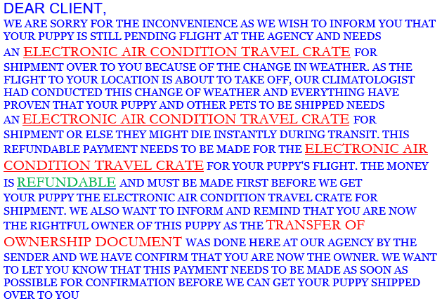 Example Pet Scam Email