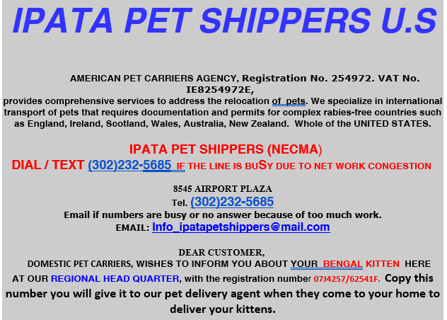 IPATA Pet Shipper Scam Example 1
